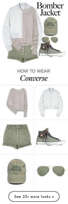 """Bomber Jacket"" by angelxalice on Polyvore featuring River Island, Won Hundred, T By Alexander Wang, Converse, Ray-Ban, women's clothing, women, female, woman and misses"