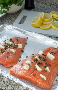Baked Salmon & capers