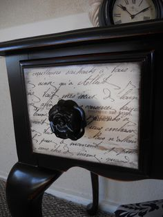 {createinspire}: Queen Anne Vanity with French Script Drawers- I LOVE this look with the french script on the drawers. She tells you how to do this with wax paper...