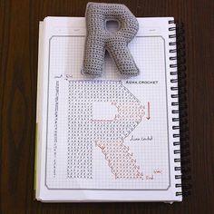 Alfabeto crochet - R Crochet Gratis, Crochet Diy, Crochet Amigurumi, Crochet Home Decor, Crochet Dolls, Crochet Diagram, Crochet Chart, Crochet Motif, Crochet Flowers