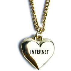 Lazy Oaf Internet Necklace ($29) ❤ liked on Polyvore featuring jewelry, necklaces, accessories, collares, pendant chain necklace, collar necklace, heart shaped pendant necklace, chain necklaces and sports pendants
