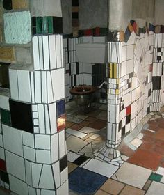 Hunterwasser Toilet in Nieuw Zeeland. Could do something similar Lots of broken tile and colors I love this idea