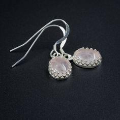 Rose quartz earrings handmade semiprecious stone rose quartz teardrop earrings pink sterling silver drop earrings rose quartz drops by CretanHareCreations on Etsy