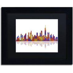 Trademark Fine Art Chicago Illinois Skyline 2 inch Canvas Art by Marlene Watson Black Matte, Black Frame, Size: 11 x 14, Multicolor