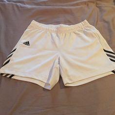 Adidas athletic shorts white size medium Women's adidas athletic shorts. White with black and gray accents. Worn once. Adidas Shorts