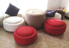 Why is so important to know how to reuse old tires? Old tires are normally thrown out or at the very least end up sitting around in the garage or yard collecting dust. Disposing of old tires is a g… Tire Furniture, Recycled Furniture, Diy Divan, Tire Ottoman, Ottoman Table, Ottoman Ideas, Tire Table, Tire Seats, Tire Craft