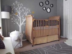 Baby Nursery: Inspiring Baby Room Gray Themed Combine With Traditional Wooden Baby Crandles And Tree Theme Wall Plus Cute Elephant Waste Bin On The Brown Carpet Plus Floor Lamp With Table Nursery Baby Design Ideas: Extraordinary Gray And White Baby Bedding Furniture Interior Design
