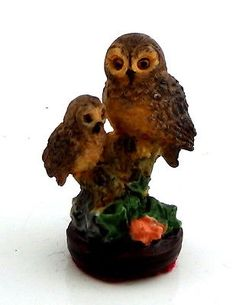 Dolls House Falcon Miniature Accessory Bird Ornament Mother & Baby Owl on Branch