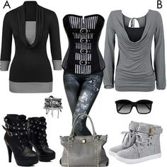 Great for a night out with the girls or a date. Komplette Outfits, Winter Outfits, Casual Outfits, Fashion Outfits, Womens Fashion, Look Fashion, Winter Fashion, Fashion Rocks, Mode Rock