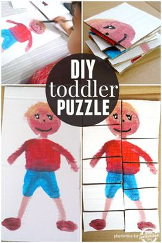 DIY toddler puzzle kids can make. So cute!
