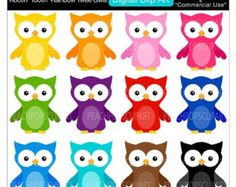 50% OFF SALE cute owls clip art colorful owl digital clipart - Rootin Tootin Rainbow Twee Owls - Digital Clip Art - Personal Commercial Use