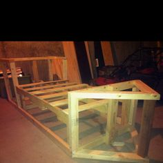 Skeleton of Mason's homemade pirate ship bed. Should be done soon!
