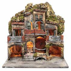 Borgo con due capanne 50x50x35 cm con fontana e luce presepe Napoli | vendita online su HOLYART Reggio, Naples, Old Houses, Home Art, Notre Dame, Nativity, House Styles, Building, Travel