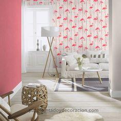 Papel pintado imitación madera con flamenco rosa PDW9479720-24