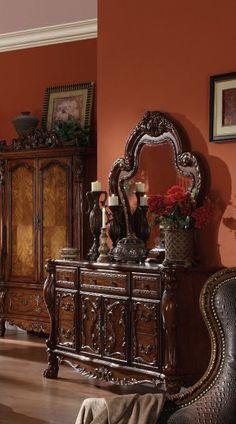 Dresden Traditional Cherry Oak Wood Glass Dresser And Mirror