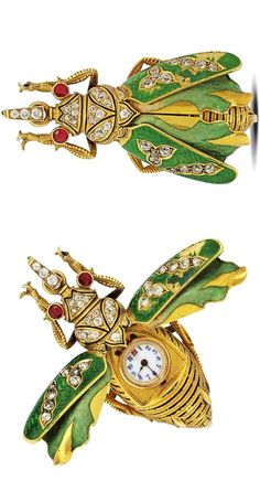 SWISS - GOLD AND ENAMEL DIAMOND-SET KEYLESS WATCH IN THE FORM OF A BEETLE, UNSIGNED, GENEVA, CIRCA 1900
