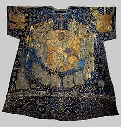 "The so-called ""Dalmatic of Charlemagne"".  Eleventh century.  It is a masterpiece of the art of embroidery practiced in Constantinople during the eleventh century. It is not known how the legend grew that it was worn by Charlemagne for his coronation as Emperor in 800 AD. It is made entirely in embroidery with gold, silver and colored thread on blue silk with scenes from the Byzantine iconography of the ninth and tenth centuries."