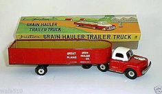 Old Vintage FARM GRAIN HAULER TIN FRICTION MOTOR FARM Truck TOY 1950s in Box