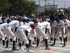 野球部(の前に陸上部が行進)。前に練習してるの見かけたけど野球部だけやたら声出してて目立っていた。