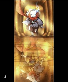 Sans with Papyrus's scarf (that doesn't happen in game tough) and at the ground...