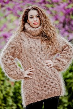 Custom Order T Neck Mohair Sweater,Hand Knitted Dress,Turtleneck Cables Pull Womens Knit Sweater, Chunky Cable Knit Sweater, Knit Sweater Dress, Mohair Sweater, Turtleneck Dress, Thick Sweaters, Hand Knitted Sweaters, Girls Sweaters, Women's Sweaters