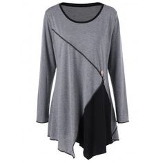 SHARE & Get it FREE | Plus Size Two Tone Asymmetric Tunic T-ShirtFor Fashion Lovers only:80,000+ Items·FREE SHIPPING Join Dresslily: Get YOUR $50 NOW!