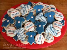 New York Yankees Baseball Baby Shower Cookies