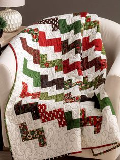 Beginner Quilt Patterns - Quick and easy enough to finish in a day and precut friendly! There's still time to make this quilt as a last-minute gift! Finished size x Design originally published in Quilter's World Winter Lap Quilts, Jellyroll Quilts, Strip Quilts, Scrappy Quilts, Quilt Blocks, Christmas Quilt Patterns, Christmas Quilting, Beginner Quilt Patterns, Quilting Patterns