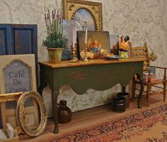 Rustic French Country Console in Avocado 1:12th by WestonMiniature
