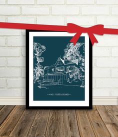 Christmas Gift for Dad : Custom Home Illustration - Grandfather Gift - 8x10 / Use Your House, Home, Cabin, Vacation Keepsake. $35.00, via Etsy.