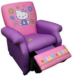 Lazy boy for kids? Hello Kitty - Deluxe Recliner How funny.my daughter would love this! Hello Kitty Zimmer, Hello Kitty Haus, Hello Kitty Bedroom, Hello Kitty Stuff, Hello Kitty Collection, Baby Dolls, To My Daughter, Kids Room, Bedding