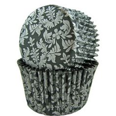 Black and Silver Damask cupcake liner
