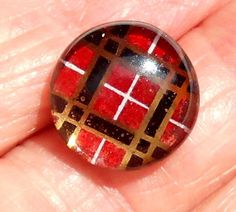 ANTIQUE KALEIDOSCOPE SHANK GLASS BUTTON SQUARES  UNDER GLASS DOME BBB pg 105