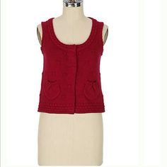 "Sparrow ""Partita"" vest from Anthropologie Size small. Very cute cranberry color. Mint condition. Anthropologie Sweaters Cardigans"