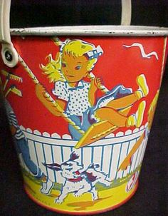Vintage Tin Lithograph Sand pail