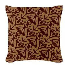 Pacific Tribal Pattern Burlap Throw Pillow -Custom Design Store