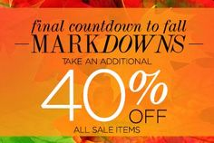 The Final Countdown to Fall - Take 40   It's Your Final Chance to Save   Sale ends 09/23   We've extended our sale, increased your savings to 40% off and added new styles. Just enter code EXTRA40KL at checkout. Offer ends Thursday, September 19, at 11:59PM ET..  https://andrealynn.kitsylane.com/index.php