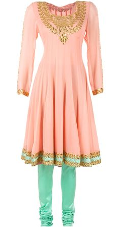 Custom made availaible at Royal Threads Boutique. To order whatsapp at peach embroidered anarkal set. Indian Western Dress, Indian Wear, Saris, Latest Designer Sarees, Designer Dresses, Indian Dresses, Indian Outfits, Salwar Kameez, Afghani Clothes