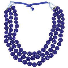 Indisches Kostüm Schmuck Blaue Perlen Multi Layered Anweisung Halskettehandgemacht ShalinIndia http://www.amazon.de/dp/B00NNGCF3I/ref=cm_sw_r_pi_dp_QL5awb1GK4V5P