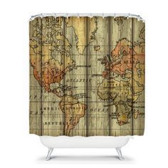 World Map Shower Curtain Grunge Primitive by FolkandFunky on Etsy