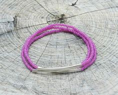 Violet Beaded Bracelet Triple Bracelet Bar by DiushesJewelery