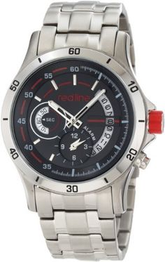 red line Men's RL-50020-11 Tech Watch Red Line. $139.95. Water-resistant to 100 m (330 feet). 60 second and 12 hour subdials; date function. Japanese quartz movement. Mineral crystal; brushed and polished stainless steel case and bracelet. Black dial with silver tone hands and hour markers; luminous; alarm function; stainless steel crown with red accent. Save 80%!