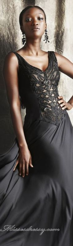 Elegant long formal dress by Theia #black