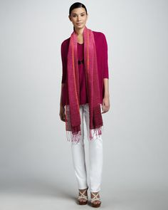 Boxy+Slub+Tunic,+Airy+Ombre+Scarf+&+Organic+Slim+Jeans,+Women\'s+by+Eileen+Fisher+at+Neiman+Marcus.