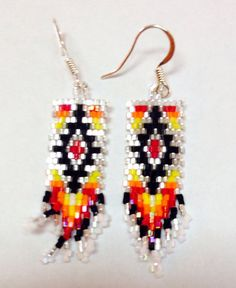 Items similar to Geometric shaped earrings on Etsy Beaded Earrings Patterns, Seed Bead Patterns, Beading Patterns, Beaded Bracelets, Seed Bead Jewelry, Seed Bead Earrings, Fringe Earrings, Native Beadwork, Native American Beadwork