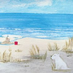 Day Remains Art Greeting Card By Hannah Cole - Card Cover Seaside Art, Beach Art, British Seaside, Colorful Pictures, Beach Pictures, Pretty Pictures, Water Art, Naive Art, Art For Art Sake