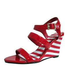 Take a look at this Red Stripe Magnetic Wedge by ann marino on #zulily today!