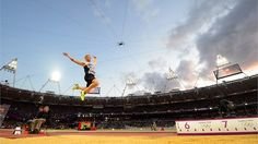 Day 8 - Greg Rutherford of Great Britain flying towards gold. He won with a jump of ahead of Australia's Mitchell Watt with and USA's Will Claye with - Men's Long Jump Photos - Olympic Athletics Long Jump, High Jump, Greg Rutherford, Leadership Excellence, Gold Medal Winners, 2012 Summer Olympics, Olympic Gold Medals, Running Track, Team Gb