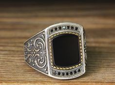 925 K Sterling Silver Man Ring Black Onyx 10 US Size B22-65498 #istanbul #Cluster