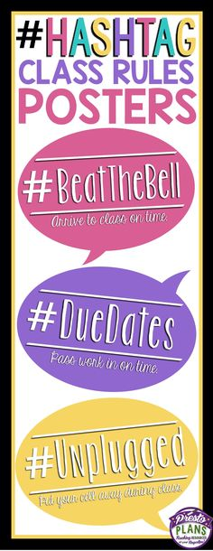 Get your students' attention with these unique back-to-school classroom rules posters. Each of the 12 posters include a hashtag that relates to a classroom rule written underneath. Use all of the rules, or only the ones that apply to your classroom!